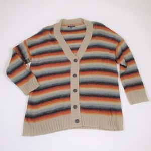 AEO L/XL Rainbow Stripe Long Cardigan Sweater New?